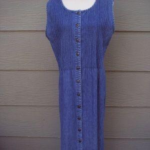 LL Bean Denim Dress Sz 12 Reg Blue Long Shift